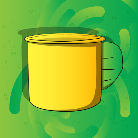 Vector cartoon hand holding big mug. Illustrated hand on comic book background. Ilustração