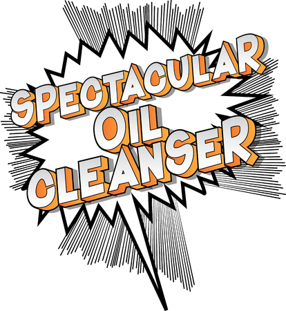 Spectacular Oil Cleanser - Vector illustrated comic book style phrase on abstract background.