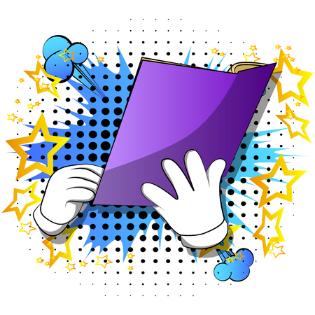 Vector cartoon hand holding a book. Illustrated hand on comic book background.