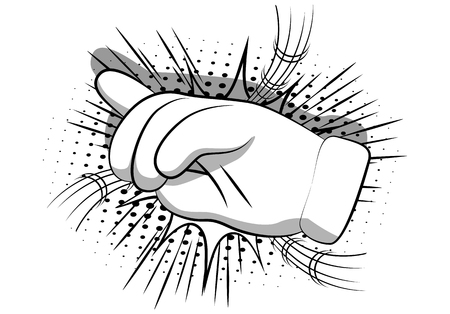 Vector cartoon pointing hand. Illustrated hand expression, gesture on comic book background. Illustration