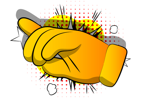 Vector cartoon pointing hand. Illustrated hand expression, gesture on comic book background. Ilustração