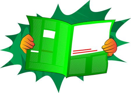 Vector cartoon hand holding a newspaper. Illustrated hand on comic book background. Ilustração