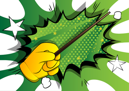 Vector cartoon hand with Magic Stick. Illustrated hand on comic book background. Vector Illustration