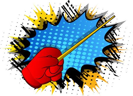 Wektor kreskówka ręka z Magic Stick. Ilustrowana ręka na tle komiksu.