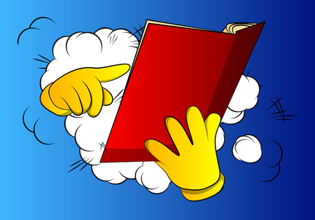 Vector cartoon hand holding and pointing at an opened book. Illustrated hand on comic book background.