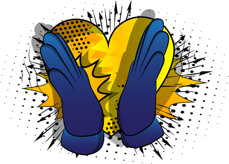 Vector cartoon hand clapping. Illustrated hand sign on comic book background. 版權商用圖片 - 119200865