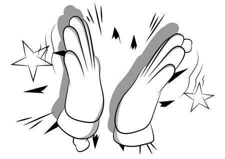 Vector cartoon hand klappen. Geïllustreerd handteken op stripboekachtergrond.