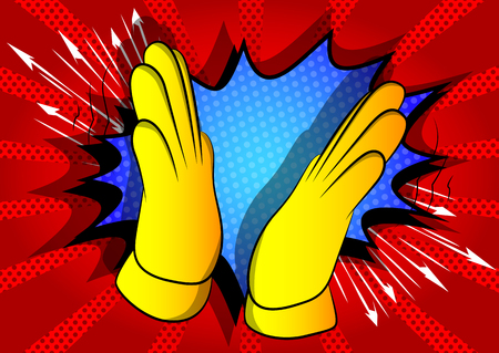 Vector de dibujos animados de la mano aplaudiendo. Signo de mano ilustrado sobre fondo de cómic.