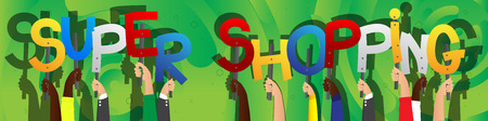 Diverse hands holding letters of the alphabet created the words Super Shopping. Vector illustration.