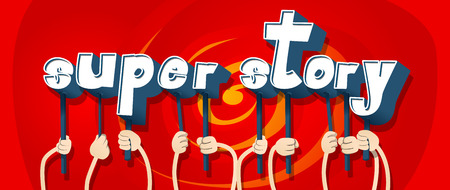 Diverse hands holding letters of the alphabet created the words Super Story. Vector illustration.
