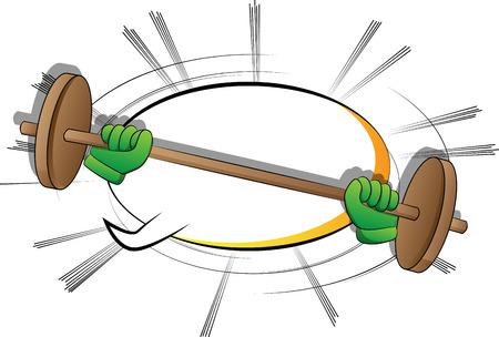 Vector cartoon hand lifting barbell. Illustrated sign on comic book background. Ilustración de vector
