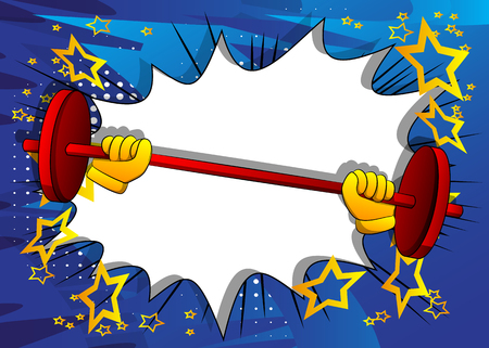 Vector cartoon hand lifting barbell. Illustrated sign on comic book background.