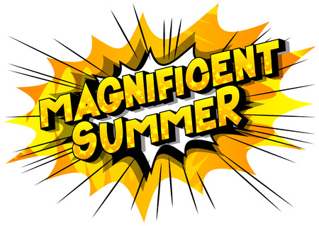 Magnificent Summer - Vector illustrated comic book style phrase on abstract background. Stock Illustratie