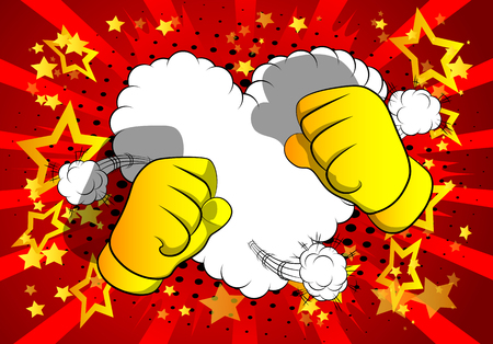 Vector cartoon hands ready to fight. Illustrated hand sign on comic book background.  イラスト・ベクター素材