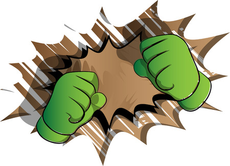 Vector cartoon hands ready to fight. Illustrated hand sign on comic book background. Illustration