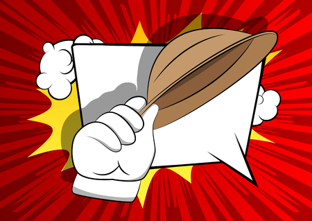 Vector cartoon hand tipping a hat. Illustrated hand on comic book background.