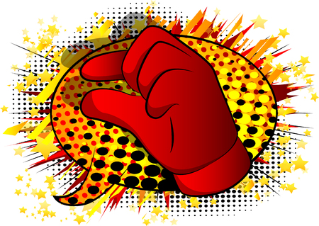 Vector cartoon hand gesturing a small amount. Illustrated hand sign on comic book background.