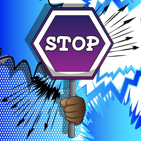 Vector cartoon hand holding a stop sign. Illustrated hand on comic book background. 스톡 콘텐츠 - 120576106