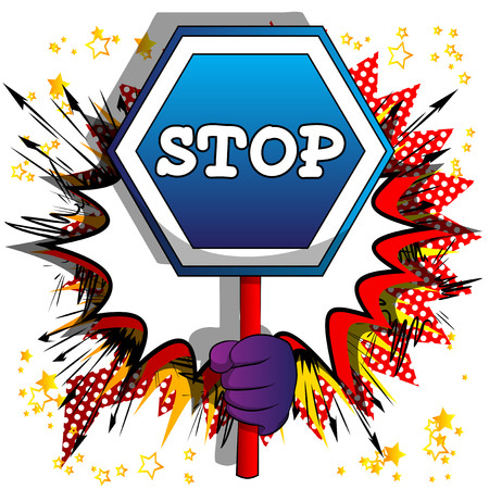 Vector cartoon hand holding a stop sign. Illustrated hand on comic book background. Reklamní fotografie - 120576110