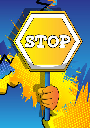 Vector cartoon hand holding a stop sign. Illustrated hand on comic book background. Stock fotó - 120576111