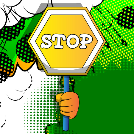 Vector cartoon hand holding a stop sign. Illustrated hand on comic book background. Stock fotó - 120576112