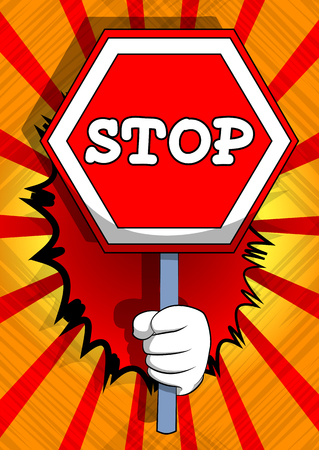 Vector cartoon hand holding a stop sign. Illustrated hand on comic book background.