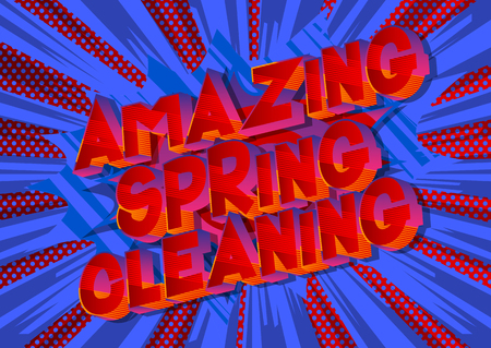 Amazing Spring Cleaning - Vector illustrated comic book style phrase on abstract background.