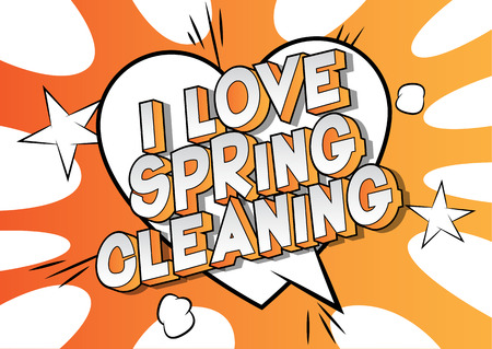 I Love Spring Cleaning - Vector illustrated comic book style phrase on abstract background. Çizim