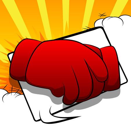 Vector cartoon hands making handshake. Illustrated hand sign on comic book background. Ilustração