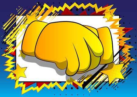 Vector cartoon hands making handshake. Illustrated hand sign on comic book background. Illustration