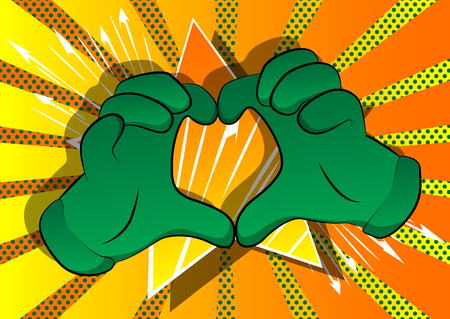 Vector cartoon hands showing heart shape hand gesture. Illustrated hand sign on comic book background.