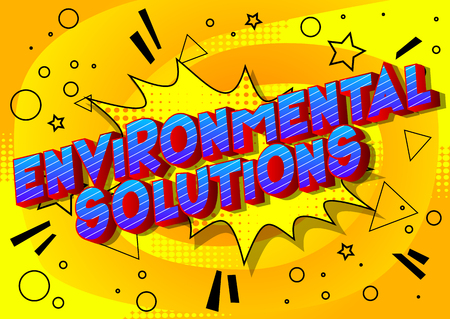 Environmental Solutions - Vector illustrated comic book style phrase on abstract background. Stock Illustratie