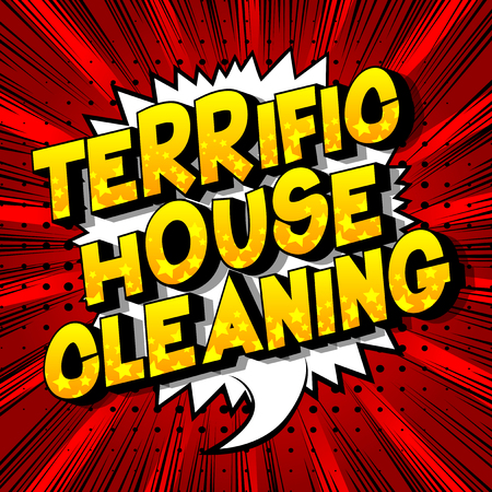 Terrific House Cleaning - Vector illustrated comic book style phrase on abstract background.