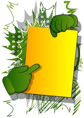 Mani del fumetto di vettore che tengono la carta e che puntano su di essa. Locandina illustrata a fumetti.