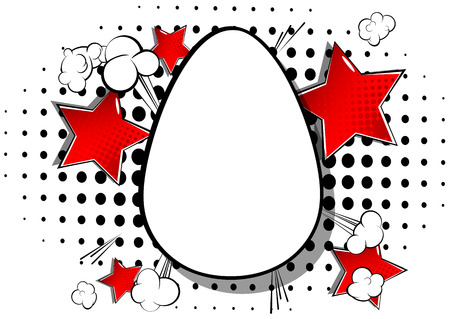 Vector cartoon blank Easter egg. Illustrated holiday sign on comic book background. Çizim