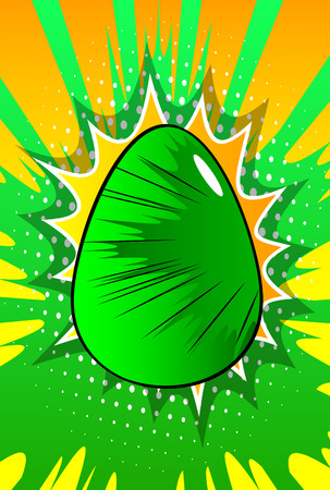 Vector cartoon colored Easter egg. Illustrated holiday sign on comic book background.
