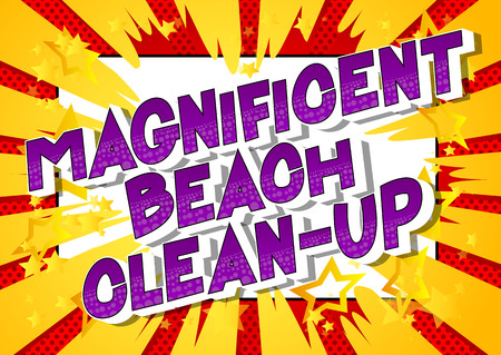 Magnificent Beach Clean-up - Vector illustrated comic book style phrase on abstract background.