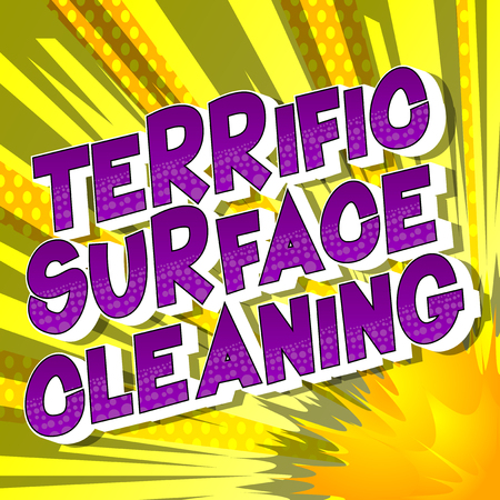 Terrific Surface Cleaning - Vector illustrated comic book style phrase on abstract background. Çizim
