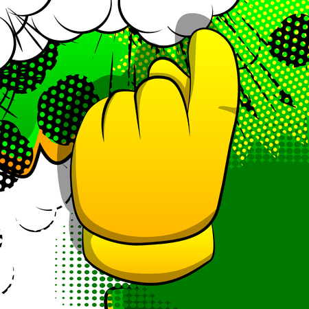 Vector cartoon hand showing invitation sign. Illustrated hand sign on comic book background. Ilustração
