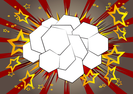 Vector illustrated retro comic book background hexagone shaped bubble, pop art vintage style backdrop.