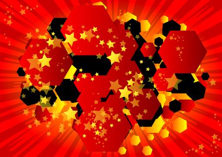 Bulle en forme d'hexagone de fond de bande dessinée rétro illustrée de vecteur, toile de fond de style vintage pop art.