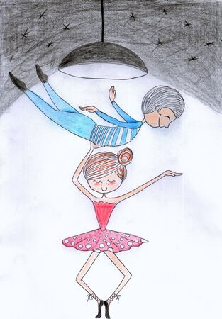 Hand drawn ballet couple. Pencil art. Alternated male and female roles. Foto de archivo - 139491644