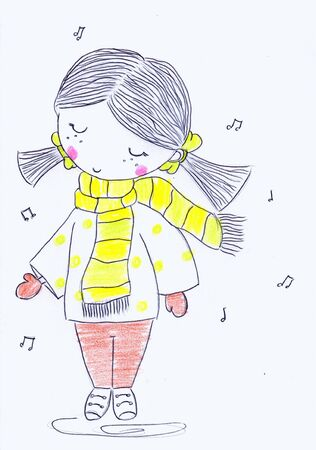 Lápiz dibujado linda niña cantando. Ilustración dibujada a mano.
