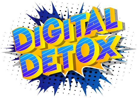 Vector illustrated comic book style Digital Detox text.