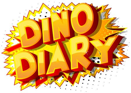 Vector illustrated comic book style Dino Diary text.