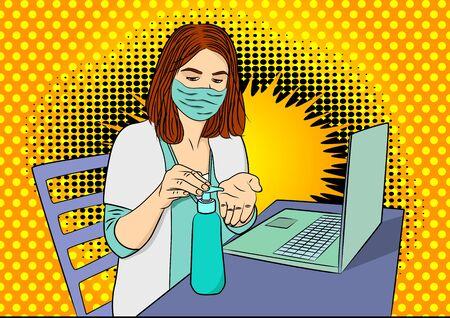 Pop Art Female doctor disinfecting her hands before woking on laptop - comic book style, cartoon woman sitting in a medical Vektoros illusztráció