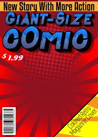 Editable comic book cover with simple explosion background. Vector illustration.