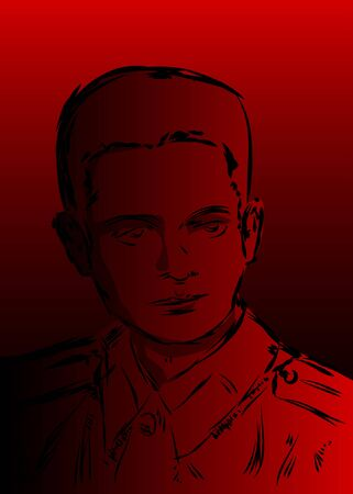 Abstract Pop Art Portrait of a soldier - Hand drawn red and black comic book style man, cartoon vector illustration.