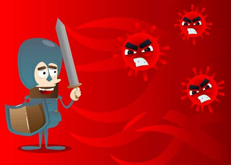 Brave knight fight disease. Vector cartoon character illustration of a soldier in armor with sword fighting a group of contagious pathogen cells.