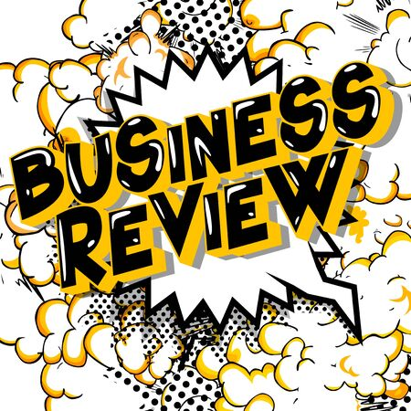 Business Review - Comic book style word on abstract background. Vettoriali